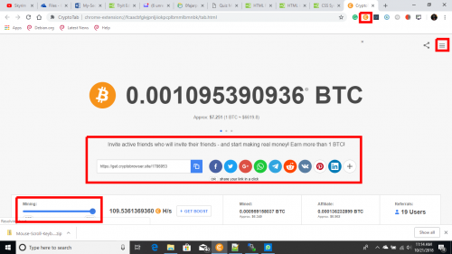 Cryptotab Browser screenshot showing that it is mining bitcoin at 100 H/s at a click of a button.